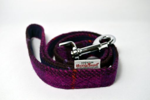 Violet Check Harris Tweed Collier pour chien Luxe