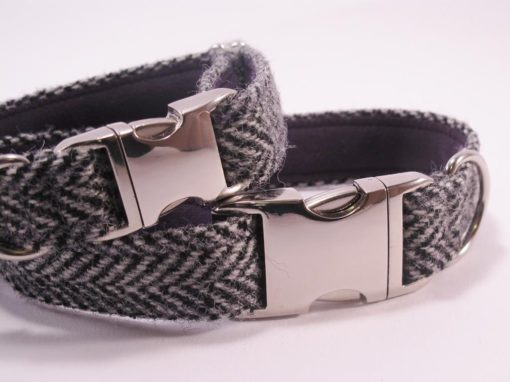 Harris Tweed Collier pour chien Luxe Gris