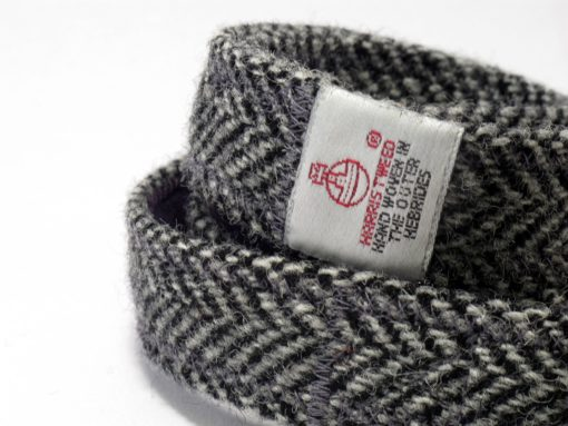 Chevrons Gris Harris Tweed Collier pour chien Luxe