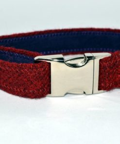 Rouge. Collier pour chien. Harris Tweed.Luxe.
