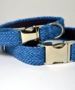 Bleu - Collier pour chien. Harris Tweed.Luxe.