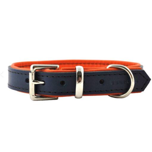 """Marine et orange Collier pour chien de luxe en cuir rembourré """"Navy and Orange"""" Marine et orange"""
