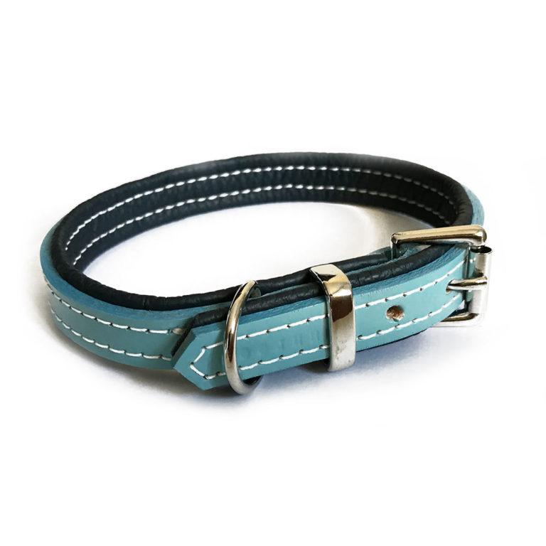 collier pour chien en cuir bleu