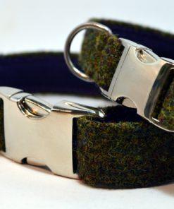 Collier Tweed de chien vert foret