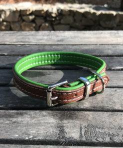 Colliers et laisses pour chiens en cuir de luxe vert et bronzage