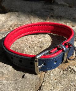 Colliers et laisses pour chiens en cuir de luxe marine et rouge