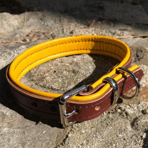 Colliers et laisses pour chiens en cuir de luxe jaune et marron