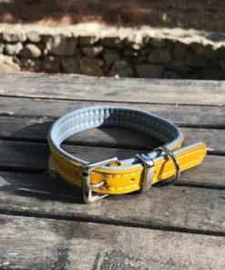 Colliers et laisses pour chiens en cuir de luxe gris et janue