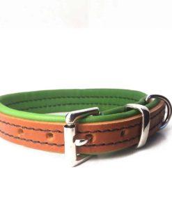 Colliers et laisses pour chiens en cuir de luxe vert et marron