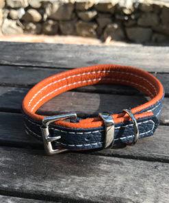 Colliers et laisses pour chiens en cuir de luxe orange et marine