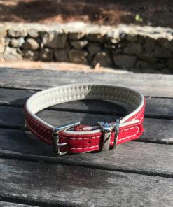 Colliers et laisses pour chiens en cuir de luxe rouge et creme